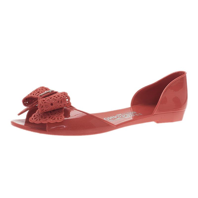 ceb8924b6b1 ... Salvatore Ferragamo Pink Preita Lace Bow Jelly Flats Size 39.5.  nextprev. prevnext