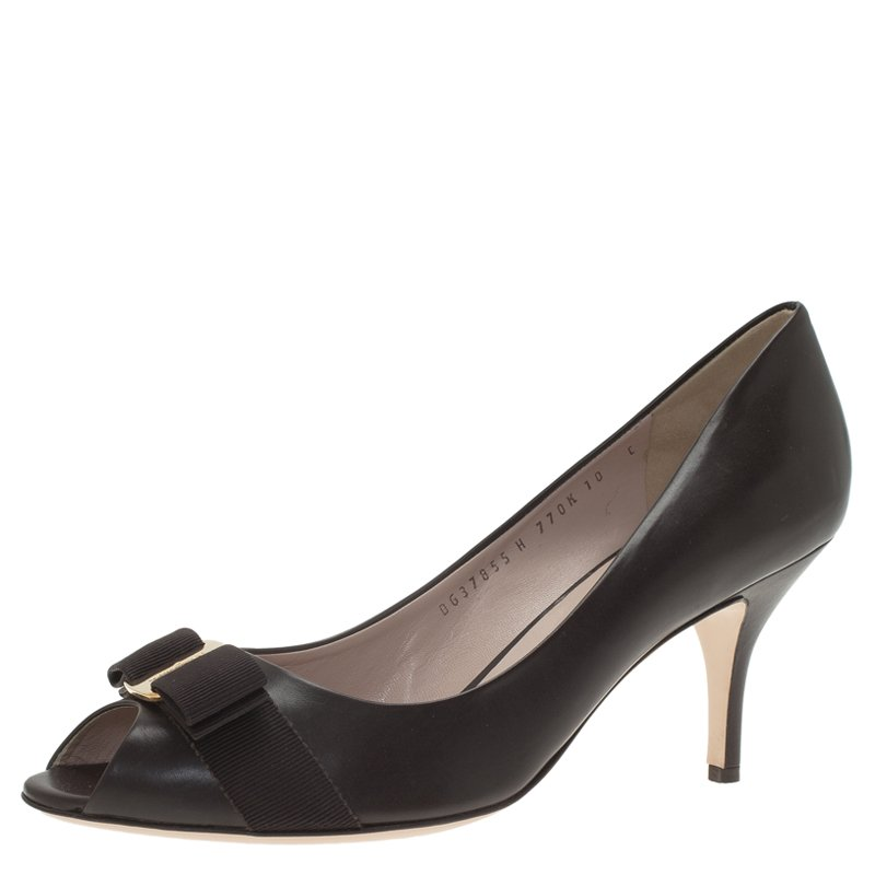 53c7c89e55a9 ... Salvatore Ferragamo Dark Brown Leather Ribes Vara Bow Peep Toe Pumps  Size 40.5. nextprev. prevnext