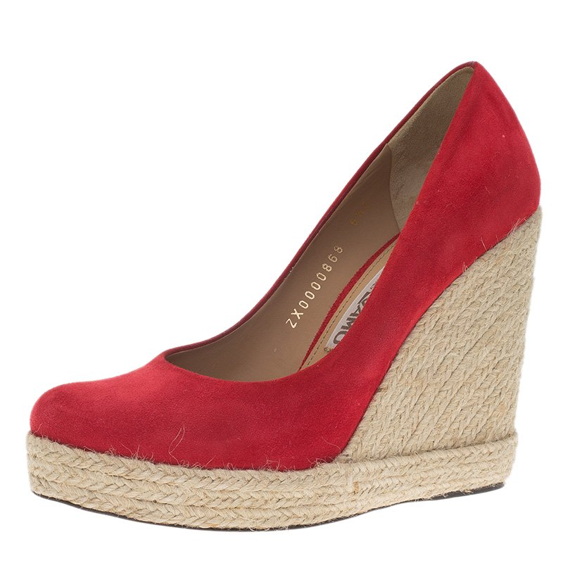 b77eb74c4d9 Salvatore Ferragamo Red Suede Bernie Espadrille Wedge Pumps Size 37