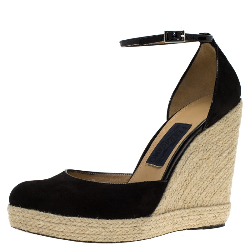 cb3d56e30f ... Salvatore Ferragamo Black Suede Ankle Strap Espadrille Wedges Size  39.5. nextprev. prevnext