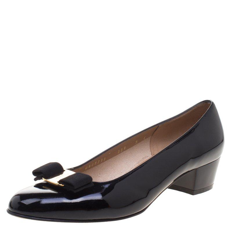 c3c42e29a2 ... Salvatore Ferragamo Black Patent Leather Vara Bow Block Heel Pumps Size  39.5. nextprev. prevnext