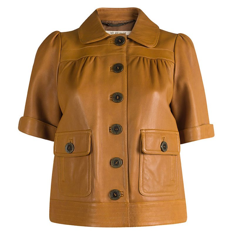 1234331d84 See By Chloe Brown Short Sleeve Cropped Leather Jacket S