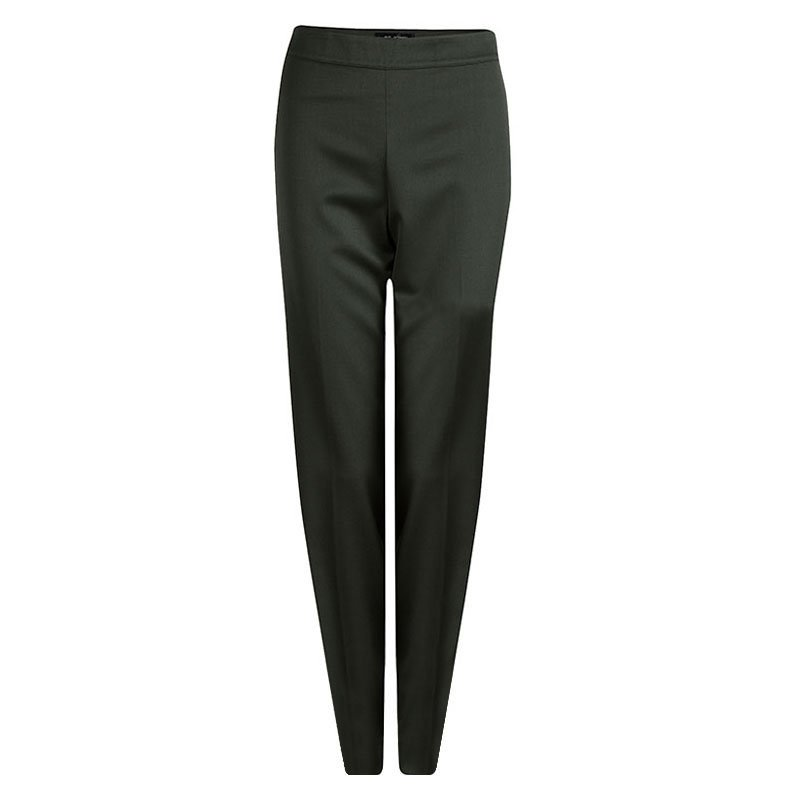 St. John Olive Green Wool Straight Fit Trousers S