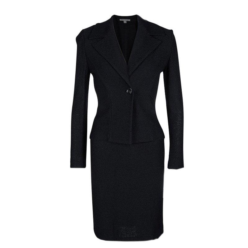 St. John Navy Blue Knit Skirt Suit S