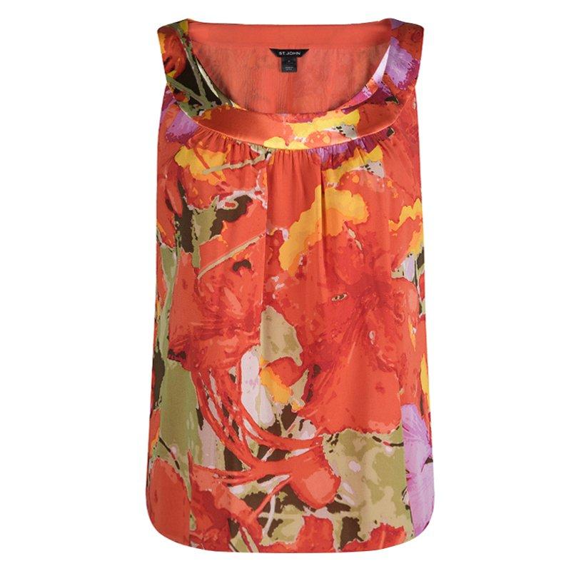 d4a80ea07f9 Buy St. John Orange Floral Printed Silk Sleeveless Top M 84395 at ...