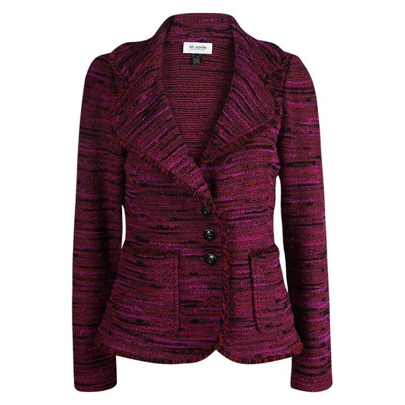 St. John Collection Pink Textured Tweed Blazer M