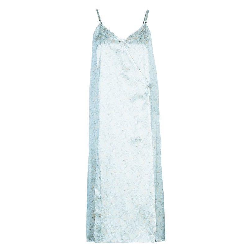 Stella McCartney Cream Floral Print Silk Wrap Dress M