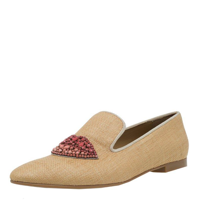 Stella McCartney Beige Woven Fabric Embellishment Tatami Flats Size 37.5