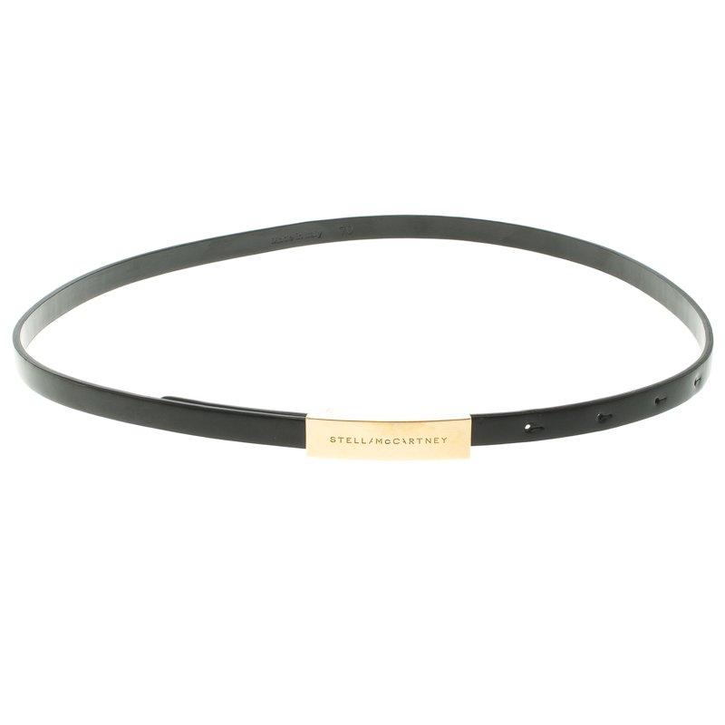 Stella McCartney Black Faux Leather Skinny Belt 70 CM