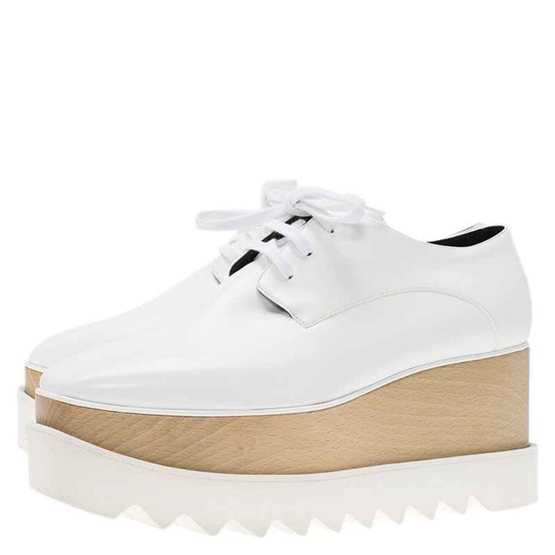 985c3a07889e Buy Stella McCartney White Faux Leather Elyse Platform Derby Size 38 ...