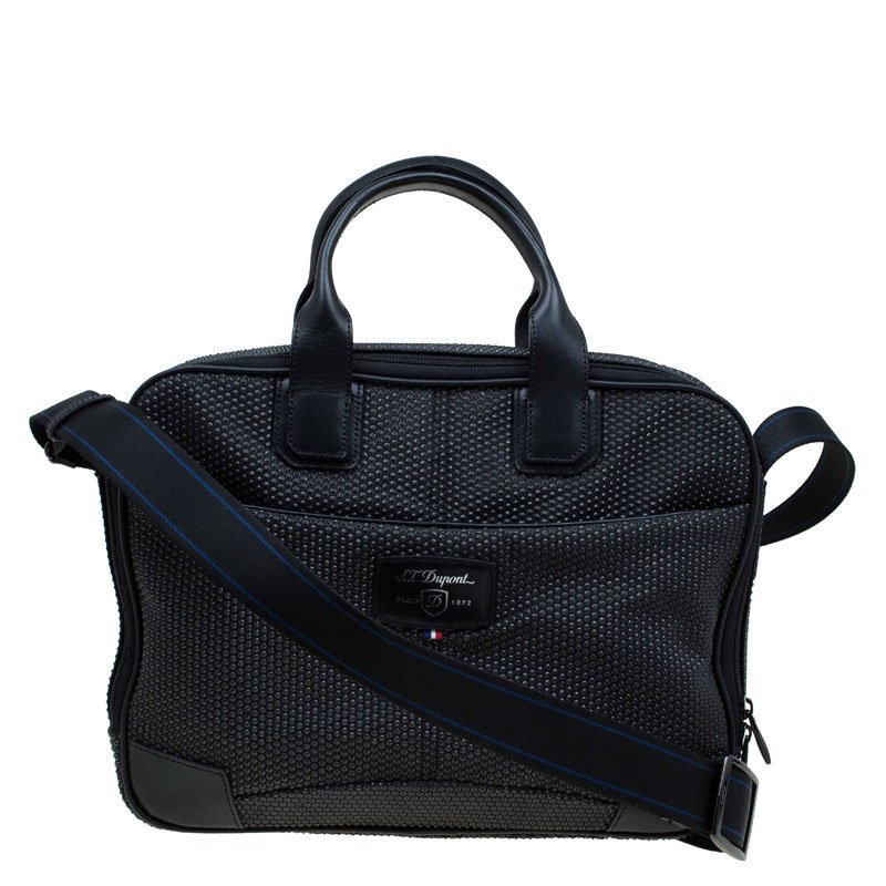 S T Dupont Black Textured Fabric Laptop Bag W Battery Pouch
