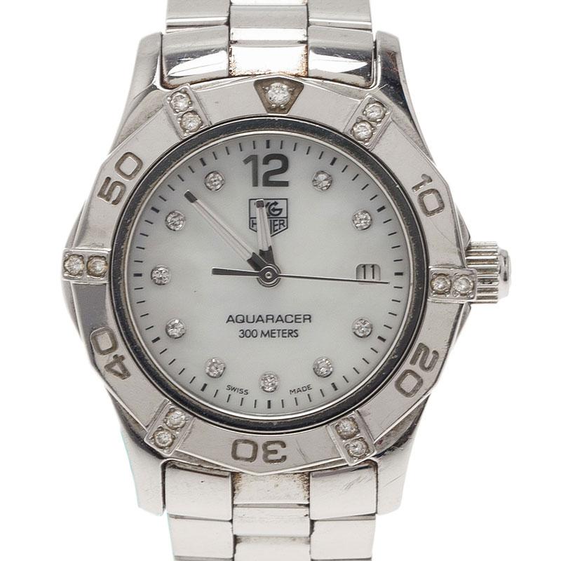 07b0cf5e072 ... Tag Heuer Aquaracer Diamonds Mother Of Pearl Stainless Steel Women s  WristWatch 27MM. nextprev. prevnext