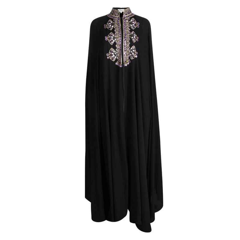 Temperley London Black Silk Embellished Cape Style Abaya (One Size)