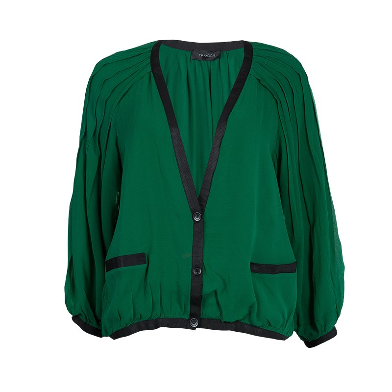Thakoon Green Contrast Piping Detail Cardigan Style Long Sleeve Silk Blouse M