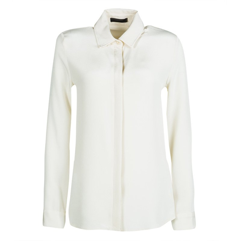 a5aeb73880d3 Buy The Row Cream Silk Leather Trim Long Sleeve Button Front Shirt S ...