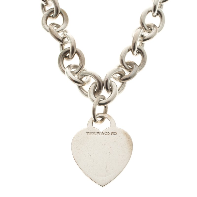 f933c58fd Buy Tiffany & Co. Plain Heart Tag Silver Chain Link Necklace 110546 ...