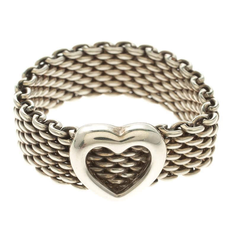 adf2c74b3 Buy Tiffany & Co. Somerset Heart Silver Mesh Ring Size 52 110582 at ...