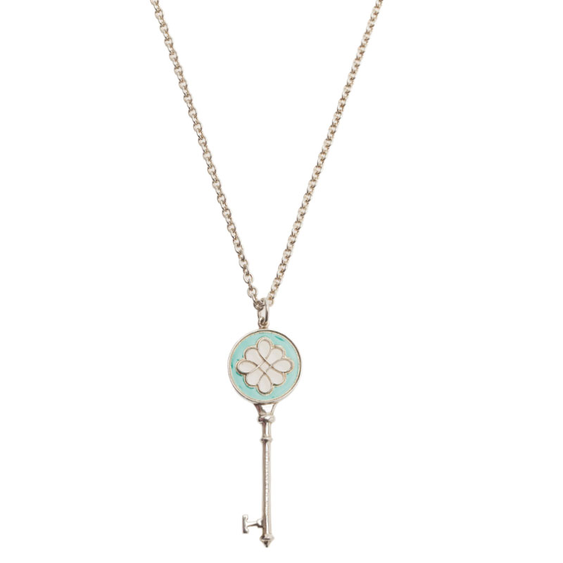 7fc293963fca Tiffany Co Keys Knot Key Pendant Necklace 39041 At. Tiffany Co Pre Owned  750 White Gold Clover ...