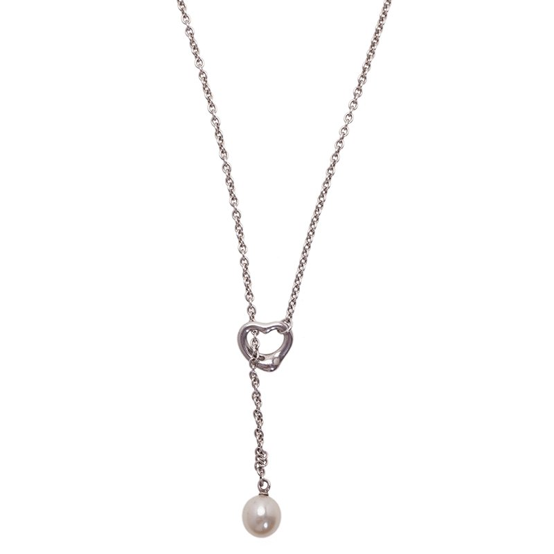f1d1e722c Elsa Peretti Open Heart Lariat Pearl Sterling Silver Necklace. nextprev.  prevnext