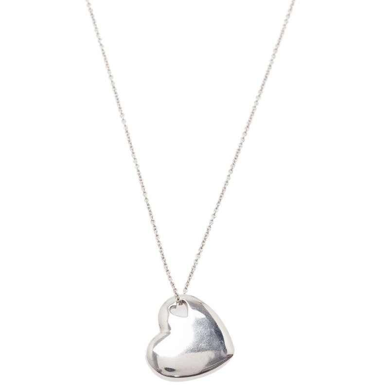 081d60d4e3a7d Buy Tiffany & Co. Elsa Peretti Double Heart Silver Pendant Necklace ...