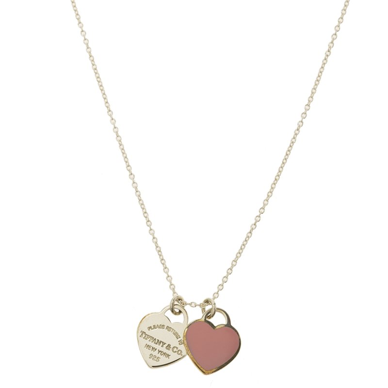 Tiffany Co Return To Tiffany Pink Enamel And Silver Heart Pendant Necklace Tiffany Co Tlc