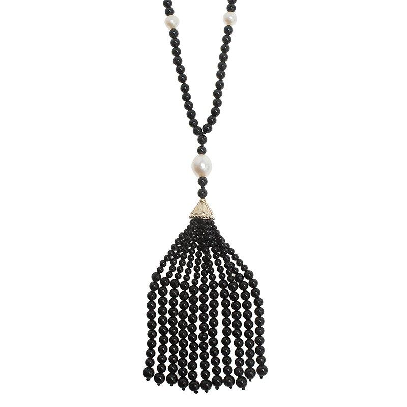 04a20136857a5 Tiffany & Co. Ziegfeld Onyx Pearls Long Silver Tassel Necklace