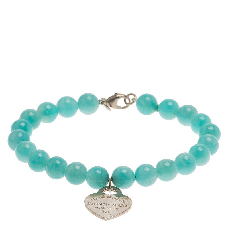 7baec730f8da2 Tiffany & Co. Return To Tiffany Amazonite Beads Mini Heart Tag Silver  Bracelet
