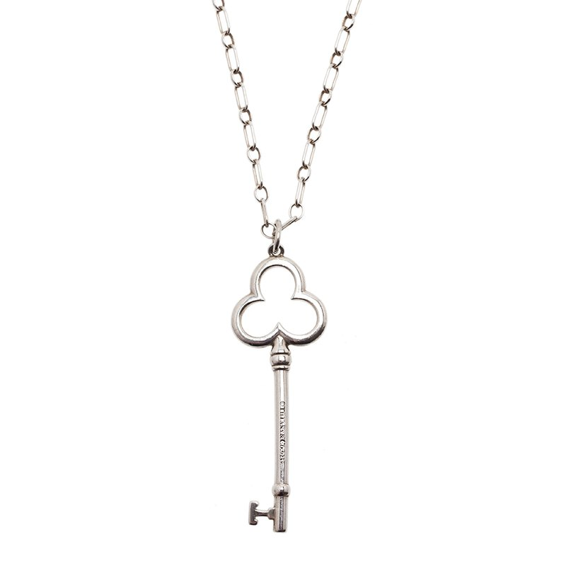 aa9ab639a Buy Tiffany & Co. Trefoil Key Silver Pendant Necklace 6691 at best ...
