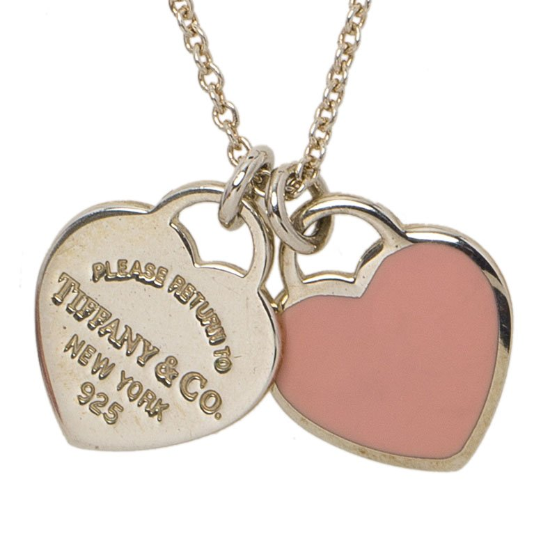 Tiffany Co Return To Tiffany Mini Double Heart Tag Pink Enamel Silver Pendant Chain Necklace Tiffany Co Tlc