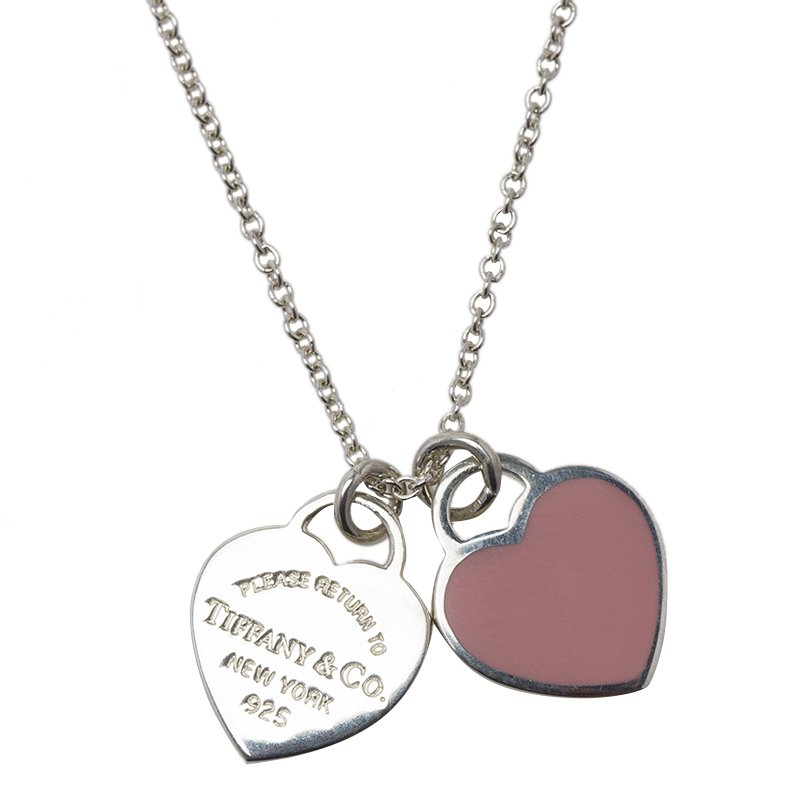 Tiffany Co Return To Tiffany Double Heart Tag Pink Pendant Necklace Tiffany Co Tlc