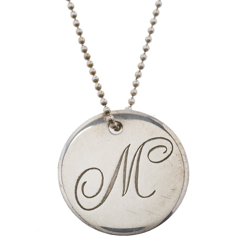 6865574655b4a Tiffany Notes Alphabet M disc charm pendant Silver Chain Necklace.  nextprev. prevnext