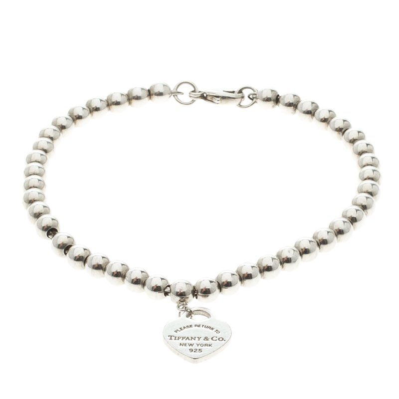 a01d80e415468 Tiffany & Co. Return to Tiffany Heart Tag Silver Beads Bracelet 17cm