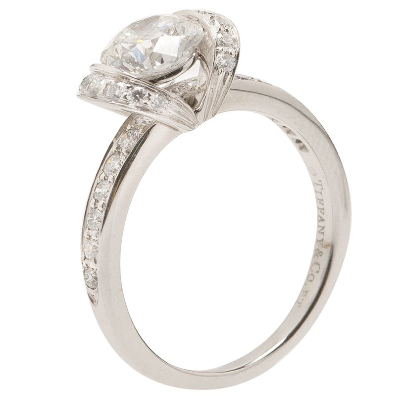 8289919ea Buy Tiffany & Co. Round Brilliant 0.96 G VS1 Diamond Ribbon Ring ...