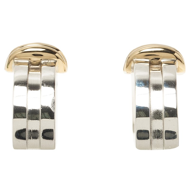 Tiffany & Co. Silver and Yellow Gold Hoop Earrings
