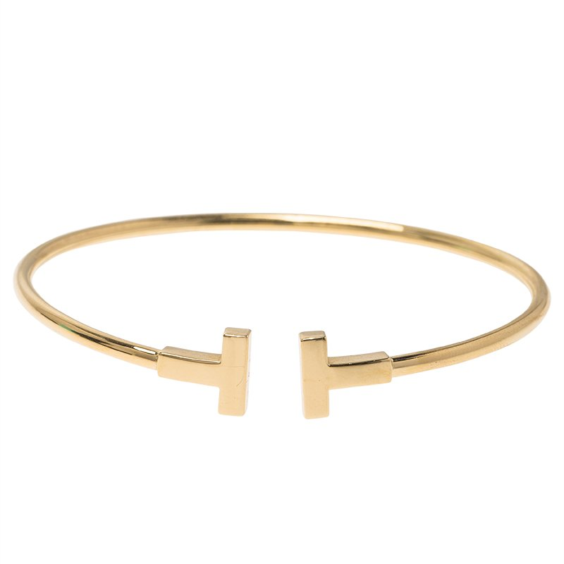 b0cdfb53b Buy Tiffany & Co. T Yellow Gold Narrow Wire Bracelet 68318 at best ...