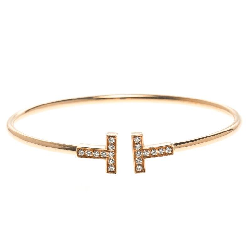 0a3371cd6 Buy Tiffany & Co. 18k Rose Gold & Diamonds T Wire Bracelet 16cm ...