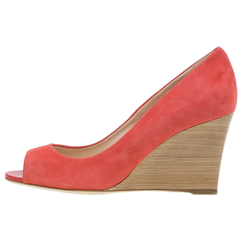 shop best sellers huge discount nice cheap Tod's Coral Suede Peep Toe Wedge Pumps Size 38