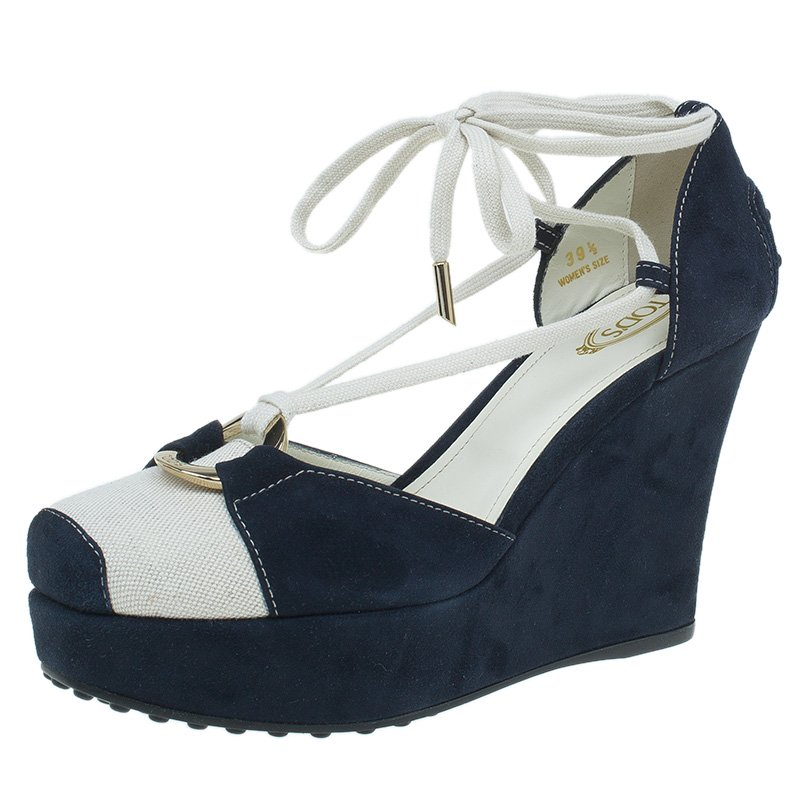 3fb7295ea6c3f ... Tod s Navy Blue Suede and Canvas Lace Up Wedge Sandals Size 39.5.  nextprev. prevnext