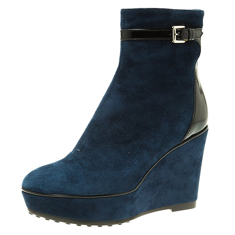 2827832ed53 ... Tod s Navy Blue Suede Buckle Detail Wedge Boots Size 37. nextprev.  prevnext