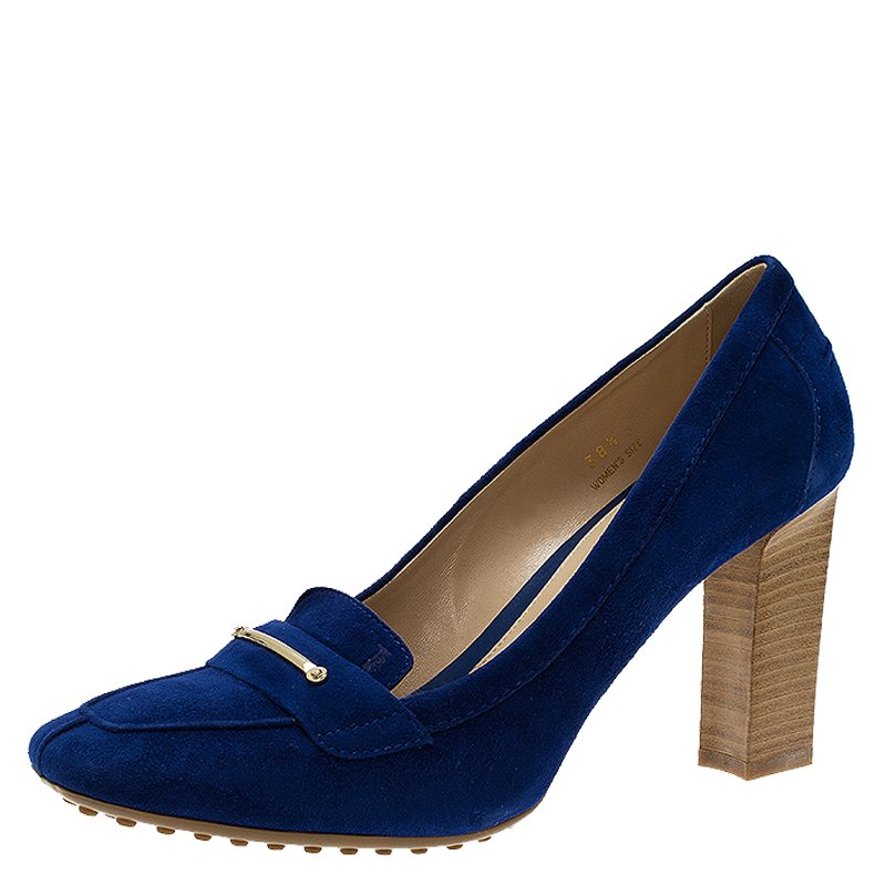 9f56912bee1 Buy Tod s Blue Suede Loafer Pumps Size 38.5 53725 at best price
