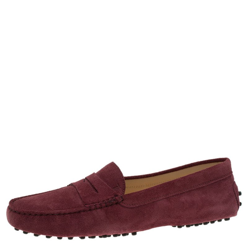 3a313ac7913 Buy Tod s Burgundy Suede Penny Loafers Size 40 54166 at best price
