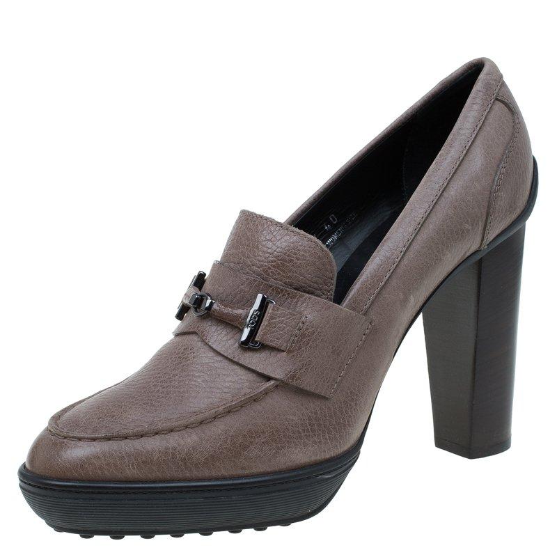 c916143605f9 ... Tod s Grey Leather Loafer Platform Pumps Size 40. nextprev. prevnext