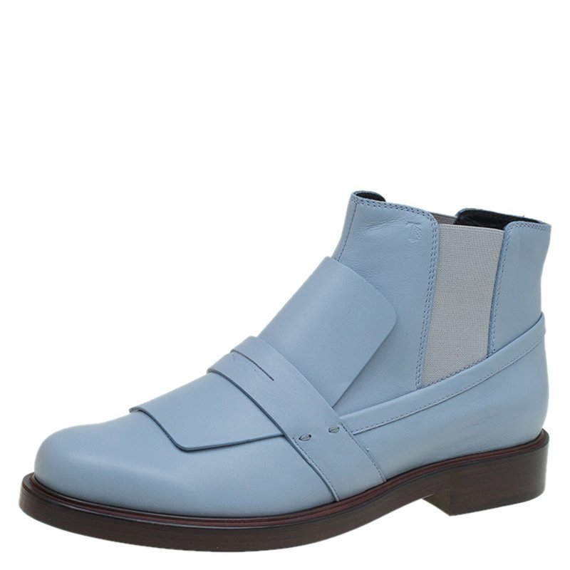 f0d280304721c Buy Tod's Powder Blue Leather Oxford Ankle Boots Size 39 89222 at ...