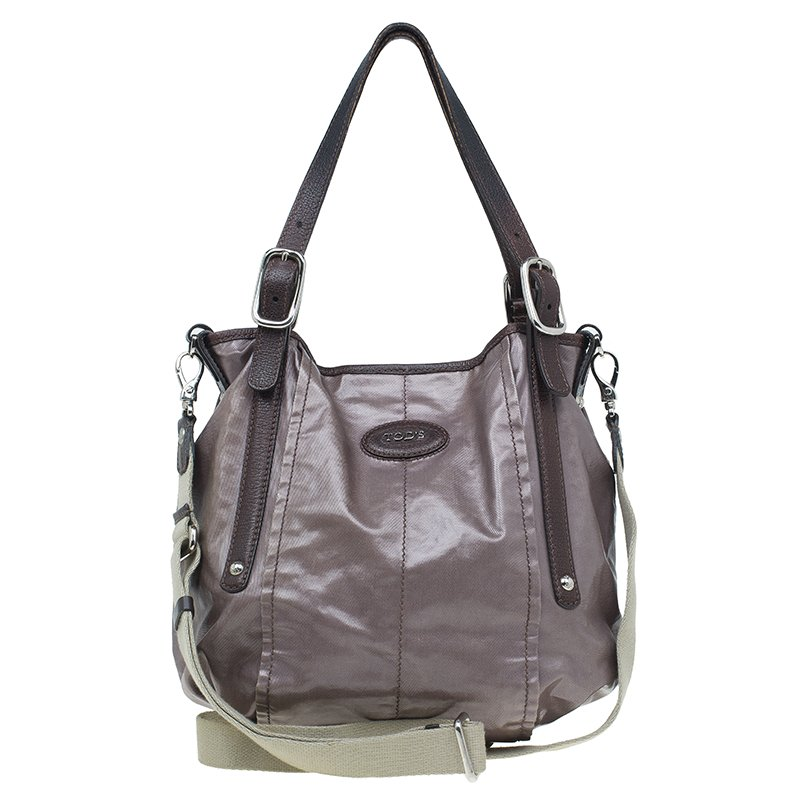 59deca3bec ... Tod's Metallic Brown Coated Canvas G-Line Easy Sacca Tote. nextprev.  prevnext