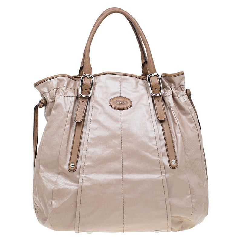 583e4af4b6 Buy Tod's Metallic Beige Coated Canvas G-Bag Easy Sacca Grande Tote ...