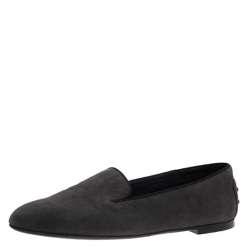 c3425f2c0 Buy Tod's Grey Suede Smoking Slippers Size 37 71458 at best price | TLC