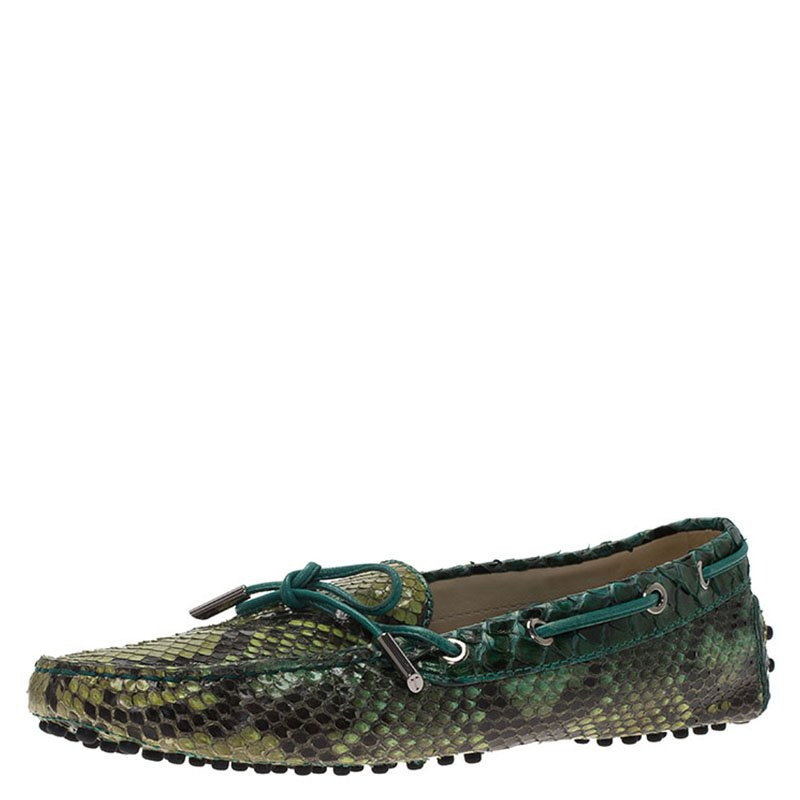 bf4cd8a6299 Buy Tod s Green Python Bow Loafers Size 38.5 74264 at best price