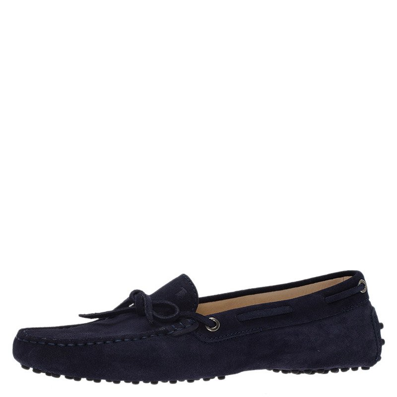 8e8f913ea30 Buy Tod s Navy Blue Suede Bow Loafers Size 40 77494 at best price