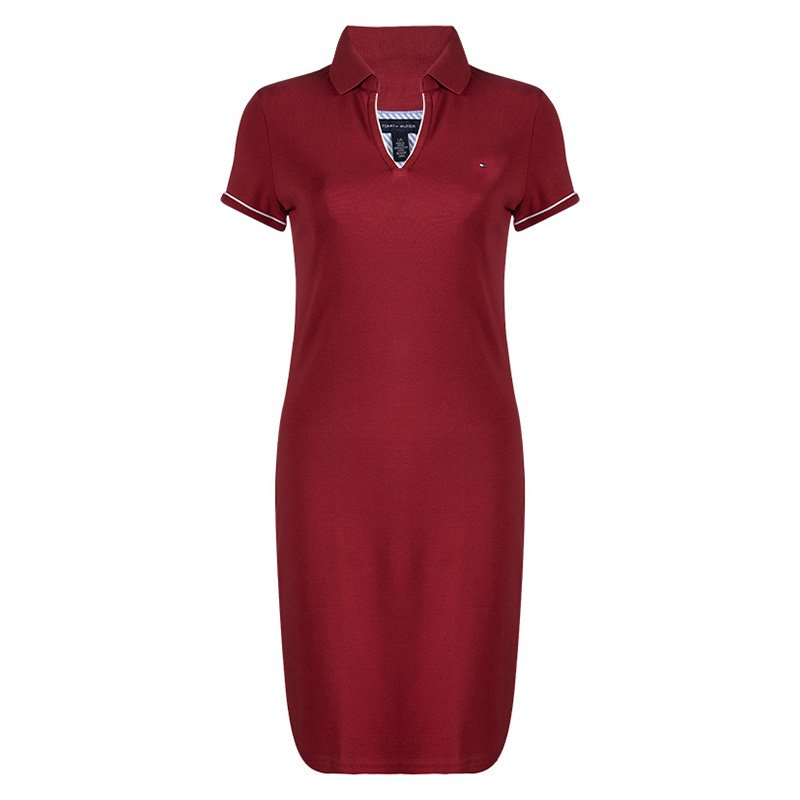 Buy Tommy Hilfiger Red Cotton Polo T-Shirt Dress M 90834 at best ... cb3a8b2686
