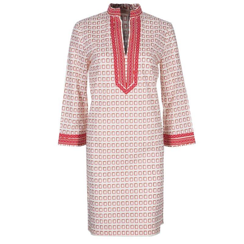 Tory Burch Red Print Tunic Dress M